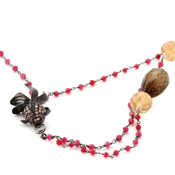 349383-Pink Tourmaline, Whiskey Quartz and Citrine Koi Fish Necklace