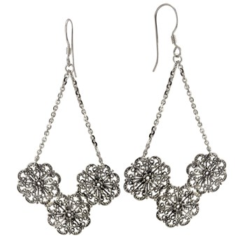 Filigree Floral Earrings-645-3199