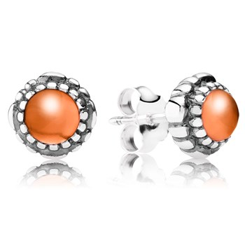 344323-PANDORA Carnelian July Birthday Bloom Stud Earrings
