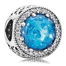 802-3126-PANDORA Radiant Hearts with Sky-Blue Crystal and Clear CZ Charm