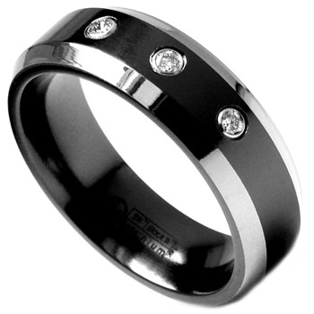 -Edward Mirell Men's Diamond Band Black Titanium & Diamond Ring