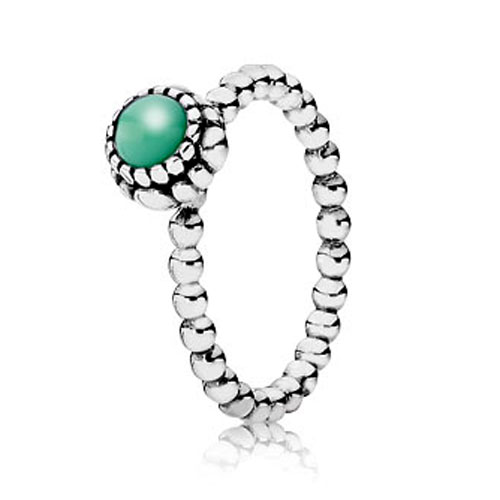 PANDORA Chrysoprase May Birthday Bloom Stackable Ring