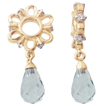 Storywheels Swiss Blue Topaz Briolette Dangle with Diamond 14K Gold Wheel RETIRED ONLY 4 LEFT!-333935