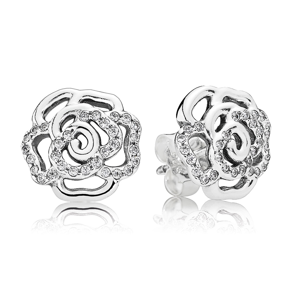 804-391-PANDORA Shimmering Rose with Clear CZ Stud Earrings