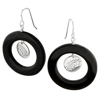 Onyx Hoop and Silver Earrings-342877