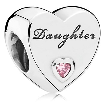 PANDORA Daughter's Love with Pink CZ Charm-802-3078