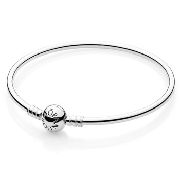 590713-PANDORA Sterling Silver with Barrel Clasp Bangle Bracelet
