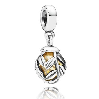 348024-PANDORA Laurel Leaves with Golden Colored CZ Dangle