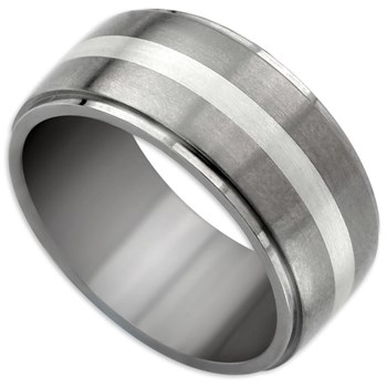 -Edward Mirell Men's Silver Bands Titanium & Sterling Silver Ring