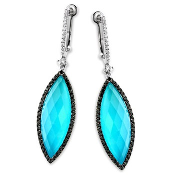 White Topaz Turquoise Earrings-339563