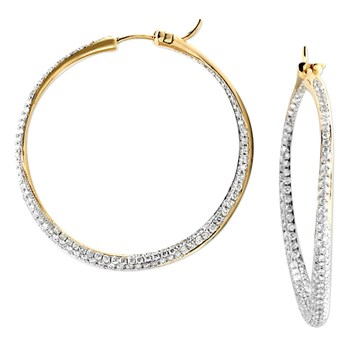 Diamond Inside Out Hoop Earrings-160-259
