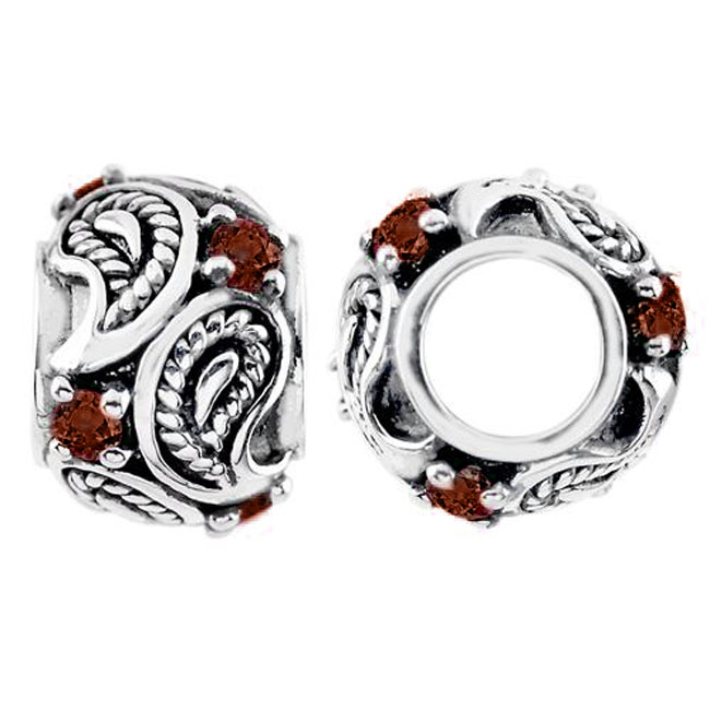 333842-Storywheels Garnet Paisley Sterling Silver Wheel ONLY 4 AVAILABLE!