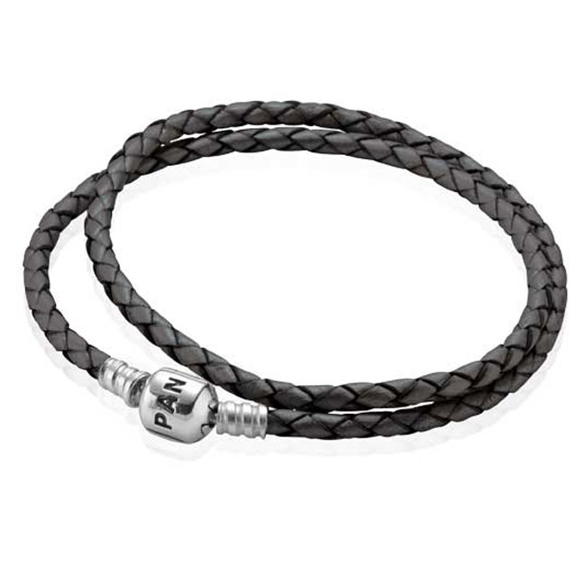 -PANDORA Grey Double Braided Leather Bracelet RETIRED ONLY 1 LEFT!
