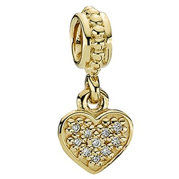 PANDORA 14K Pavé Brilliant Heart with Diamond Dangle-337730