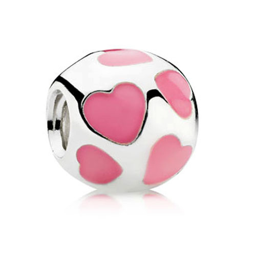 340144-PANDORA Love You with Pink Enamel Charm RETIRED