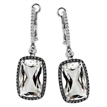 White Topaz & Diamond Earrings-339569