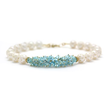 Aquamarine & Pearl Necklace-325-234