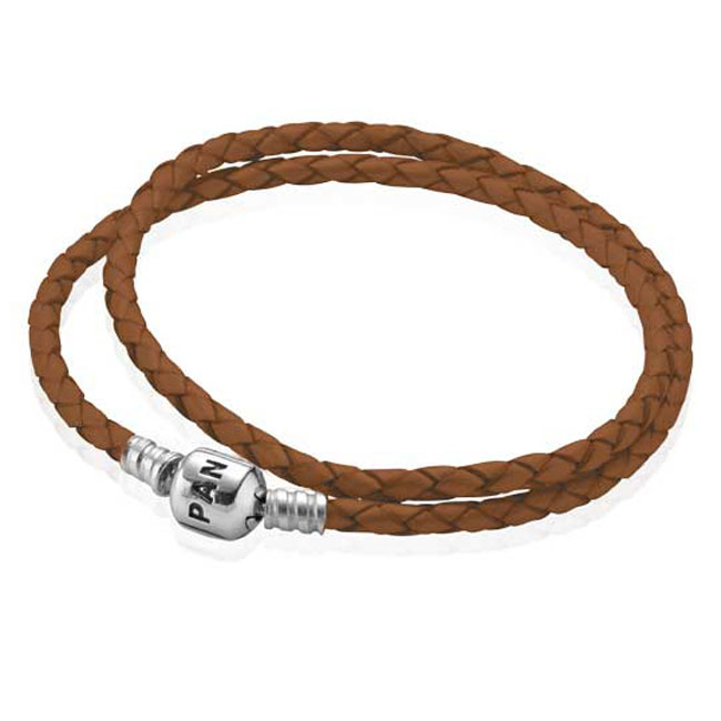 -PANDORA Brown Double Braided Leather Bracelet