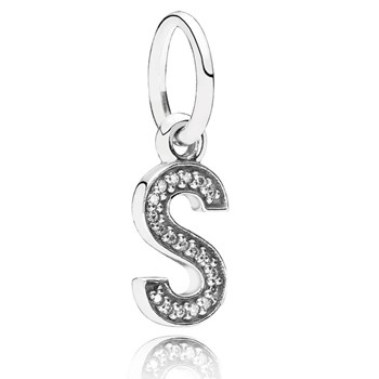 PANDORA Letter S with Clear CZ Pendant-346454