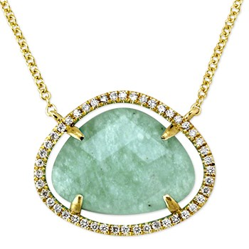 Amazonite and Diamond Necklace-342306