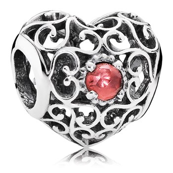 PANDORA January Signature Heart with Garnet Charm-802-3100
