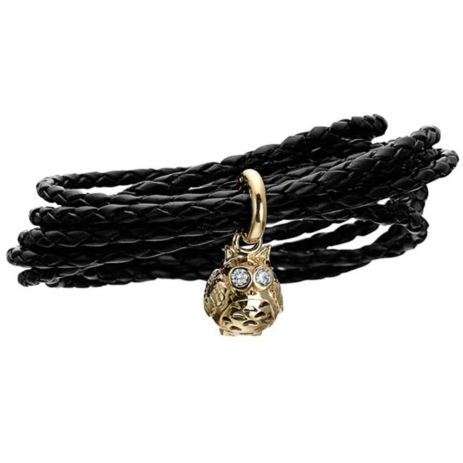 339418-STORY by Kranz & Ziegler Triple Wrap Black Braided Leather with Gold Plated Owl Charm Starter Bracelet RETIRED ONLY 2 LEFT!