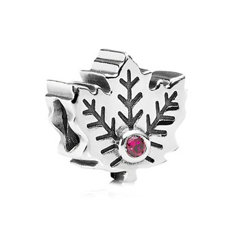 PANDORA Maple Leaf with Synthetic Ruby Charm-344232