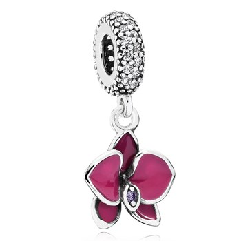 PANDORA Orchid with Clear CZ & Purple Enamel Dangle-802-3023
