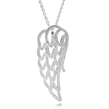 801-703-PANDORA Angel Wing with Clear CZ Necklace