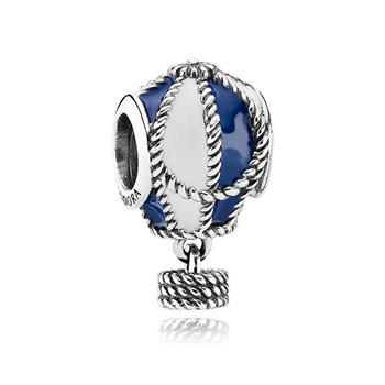 PANDORA Up and Away with Blue and White Enamel Dangle RETIRED