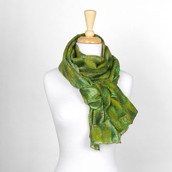 Green Abstract Nuno Felted Scarf