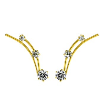 Gold CZ Small Ear Climber