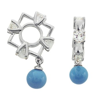 271073-Storywheels White Topaz & Turquoise Dangle 14K White Gold Wheel RETIRED ONLY 2 LEFT!
