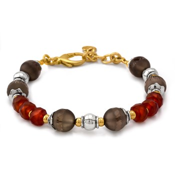 Smoky Quartz and Carnelian Bracelet