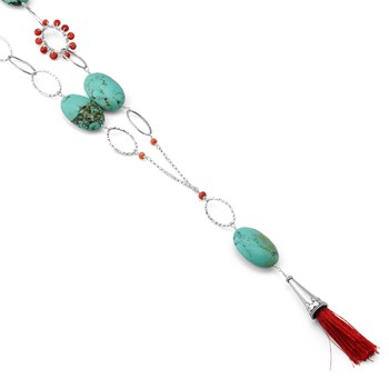 Turquoise & Coral Tassel Necklace-235-536