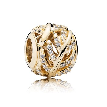 806-62-PANDORA 14K Light as a Feather with Clear CZ Charm