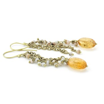210-682-Imperial Topaz & Pink Opal Earrings