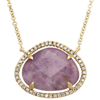 Charoite and Diamond Necklace-342301