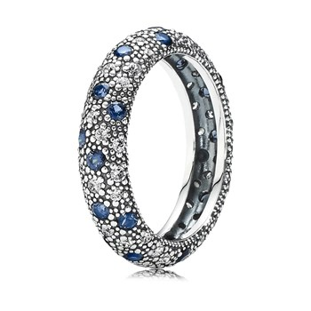 PANDORA Cosmic Stars with Clear CZ and Midnight Blue Crystal Ring RETIRED