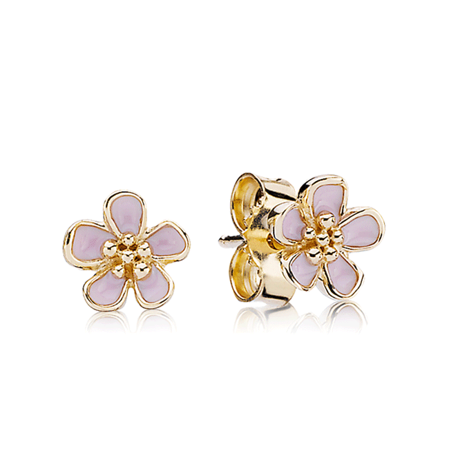 342978-PANDORA 14K Cherry Blossom with Pink Enamel Stud Earrings