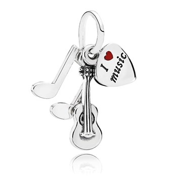 802-2865-PANDORA I Love Music Guitar with Red Enamel Pendant