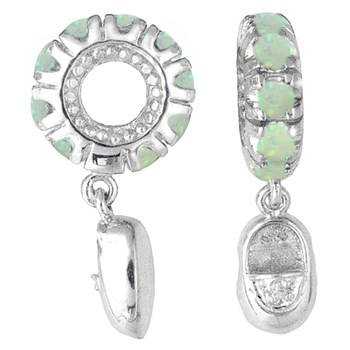 265102-Storywheels Opal & Diamond Baby Shoe Dangle 14K White Gold Wheel ONLY 2 AVAILABLE!