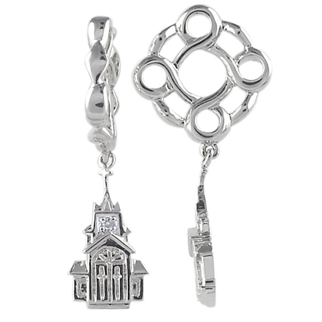 336909-Storywheels Diamond Church Dangle Sterling Silver Wheel ONLY 5 AVAILABLE!