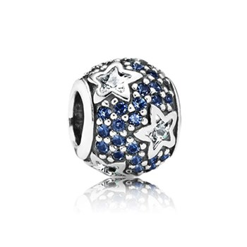 PANDORA Follow the Stars with Clear CZ and Midnight Blue Crystal Charm RETIRED