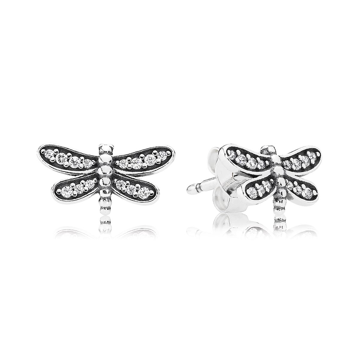 804-384-PANDORA Petite Dragonfly with Clear CZ Stud Earrings