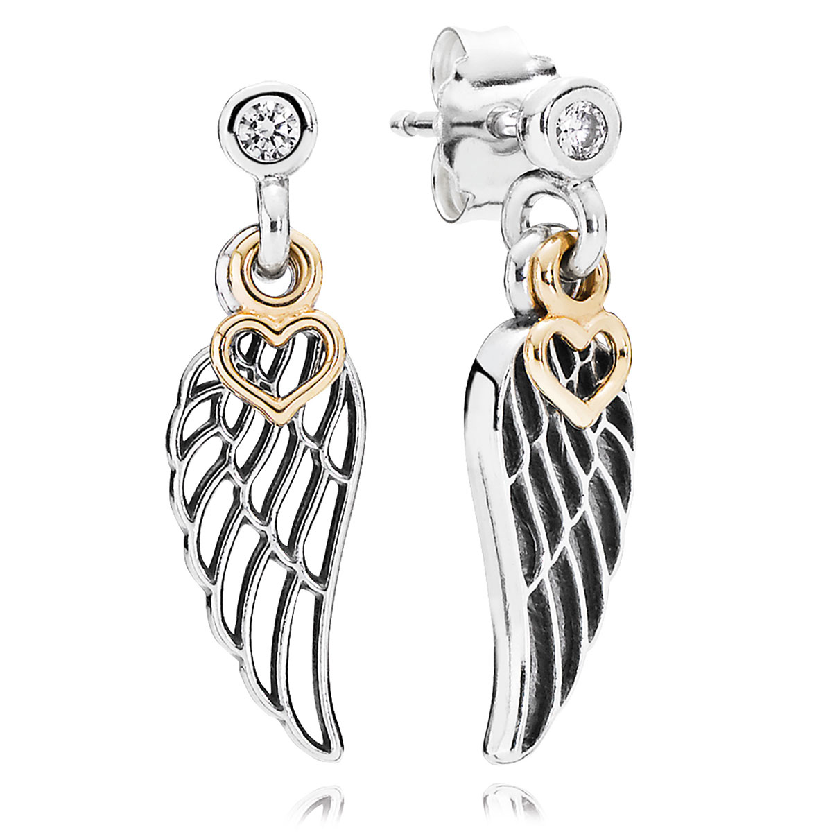 804-419-PANDORA Love & Guidance with 14K and Clear CZ Dangle Earrings