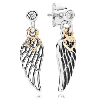PANDORA Love & Guidance with 14K and Clear CZ Dangle Earrings-804-419