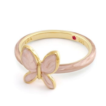 Cream 'Layers of Love' Butterfly Ring