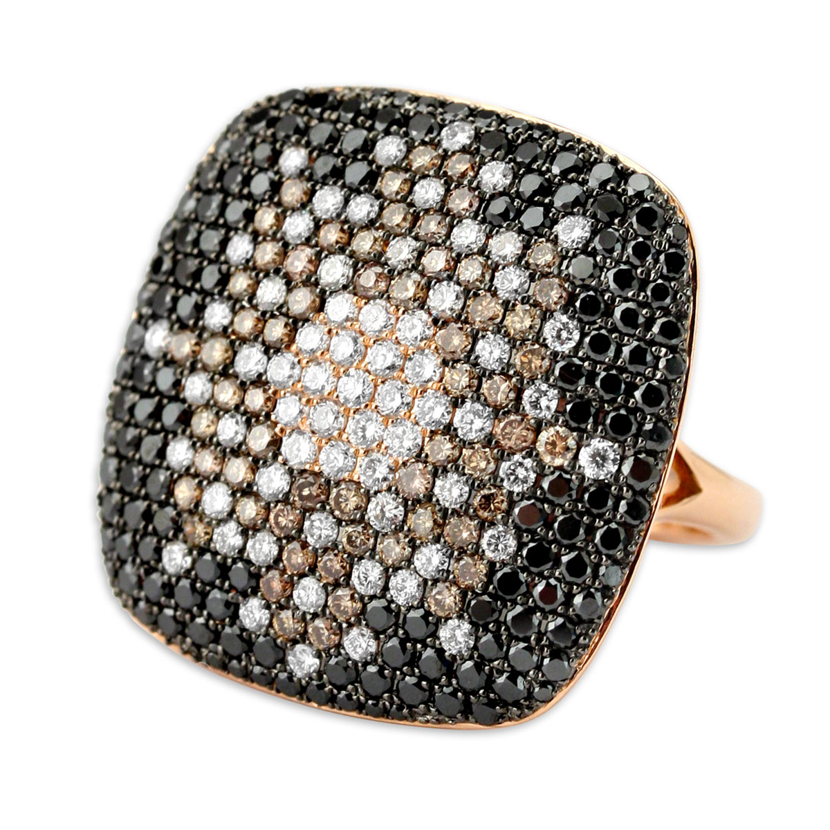 339574-Black Brown & White Diamond Bling Ring