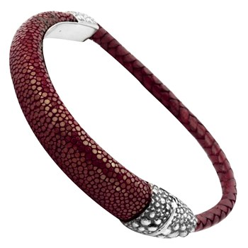 Sterling Silver Clasp with Red Stingray Leather Bracelet 342829